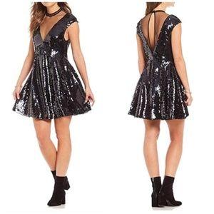 Free People Black Dance Til Dawn Sequin Dress NWT